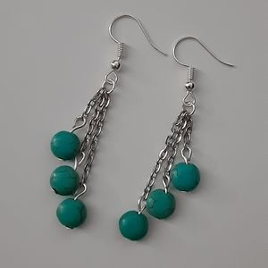 Pretty Silver And Turquoise Dangle Earrings